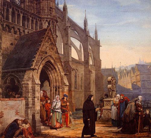 Фауст и Маргарита. 1857. Акварель. 45,7 x 50,1 см. Частная колекция. Англия.