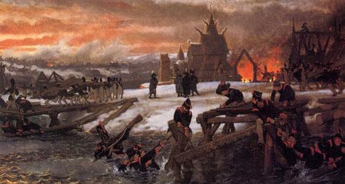 Битва на реке Березина - 1812. 1859 - 1869. Масло, холст. Исторический музей, Амстердам, Голландия.
