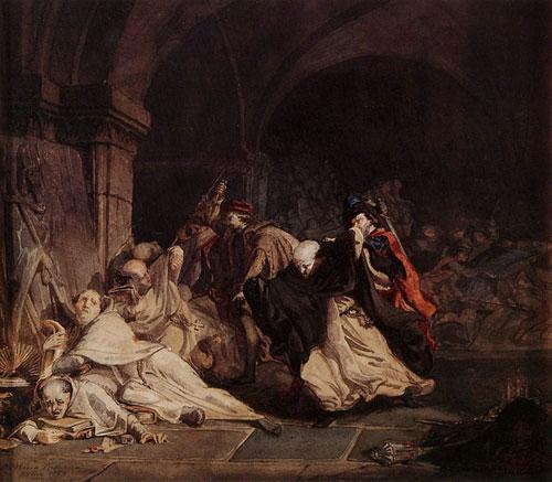 Резня монахов в Tamond. 1855. Набросок. Карандаш, акварель и гуашь. Частное собрание.