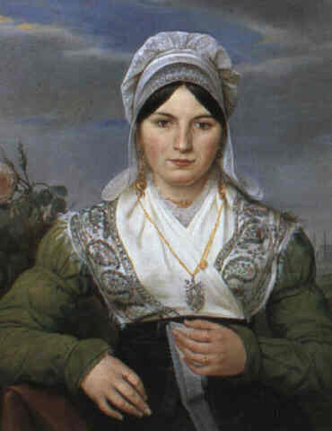 Portrait of a lady knitting lace