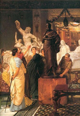 Альма-Тадема. Галерея скульптур в Риме во времена Августа. 1867.