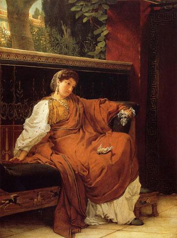 Альма-Тадема. Лесбия, плачущая по воробью. 1866.