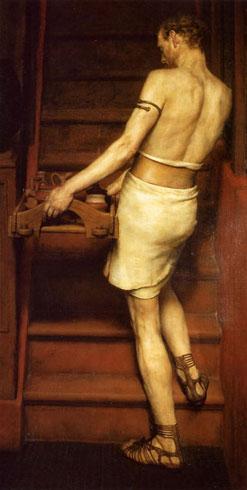 Альма-Тадема. Адриан в Англии: посещение римско-британской керамики (или Римский Гончар, или Раб поднимается по лестнице. 1878.
