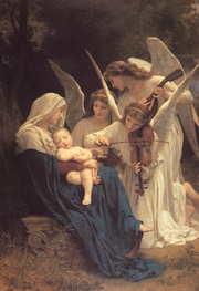 The Virgin with Angels. 1881. Oil on canvas. (152.4 x 213.4 cm). Museum at Forest Lawn Memorial-Park (Glendale, California, United States)
