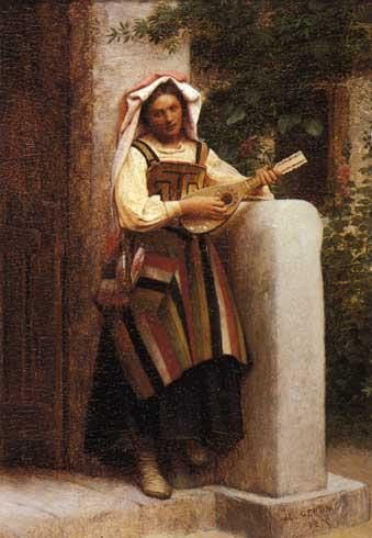 Жан-Леон Жером. Итальянская девочка, играющая на мандолине.