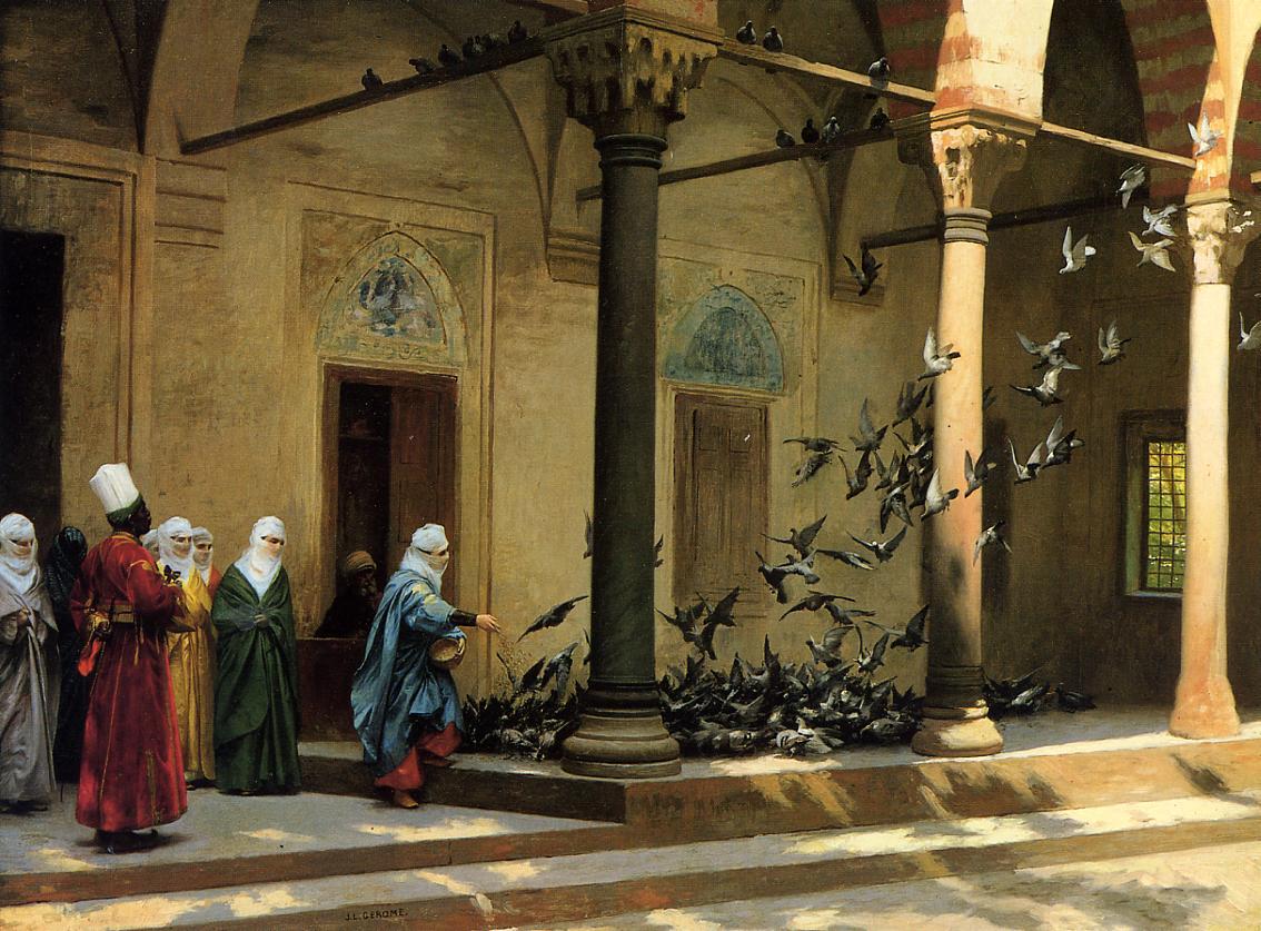 Жан-Леон Жером. Женщины гарема, кормящие голубей во внутреннем дворе.