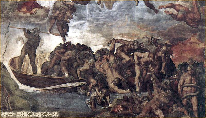 Харон, сталкивающий грешников с лодки. Фрагмент фрески «Страшный суд». Микеланджело