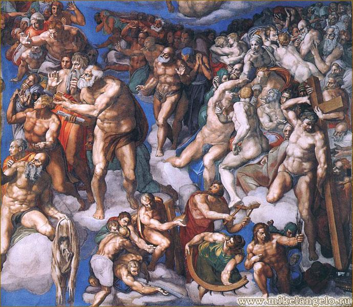 Святые мученики. Фрагмент фрески «Страшный суд». Микеланджело