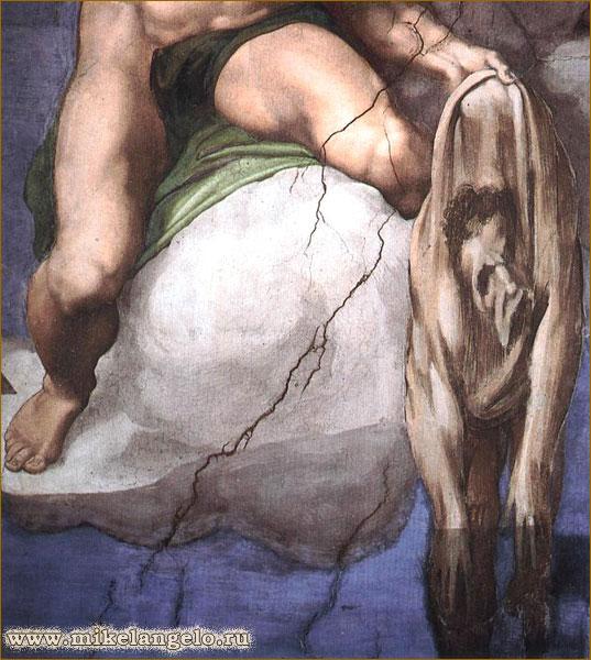 Кожа с лица святого Варфоломея с автопортретом Микеланджело. Фрагмент фрески «Страшный суд». Микеланджело