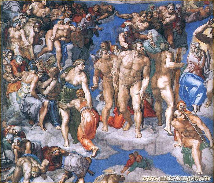 Грешники, Богоматерь и св. Лаврентий с железной решеткой. Фрагмент фрески «Страшный суд». Микеланджело