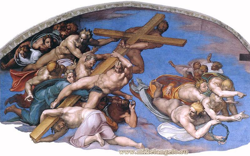 Ангелы, несущие крест и терновый венец. Фрагмент фрески «Страшный суд». Микеланджело