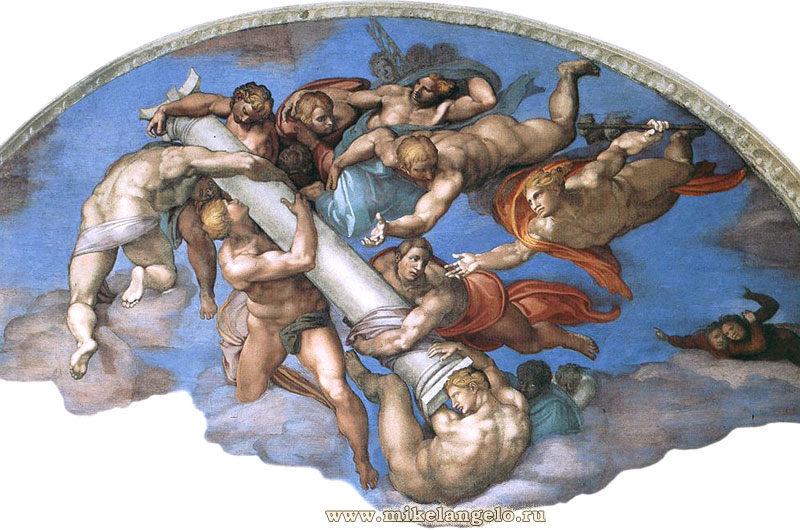 Ангелы, опрокидывающие колонну. Фрагмент фрески «Страшный суд». Микеланджело