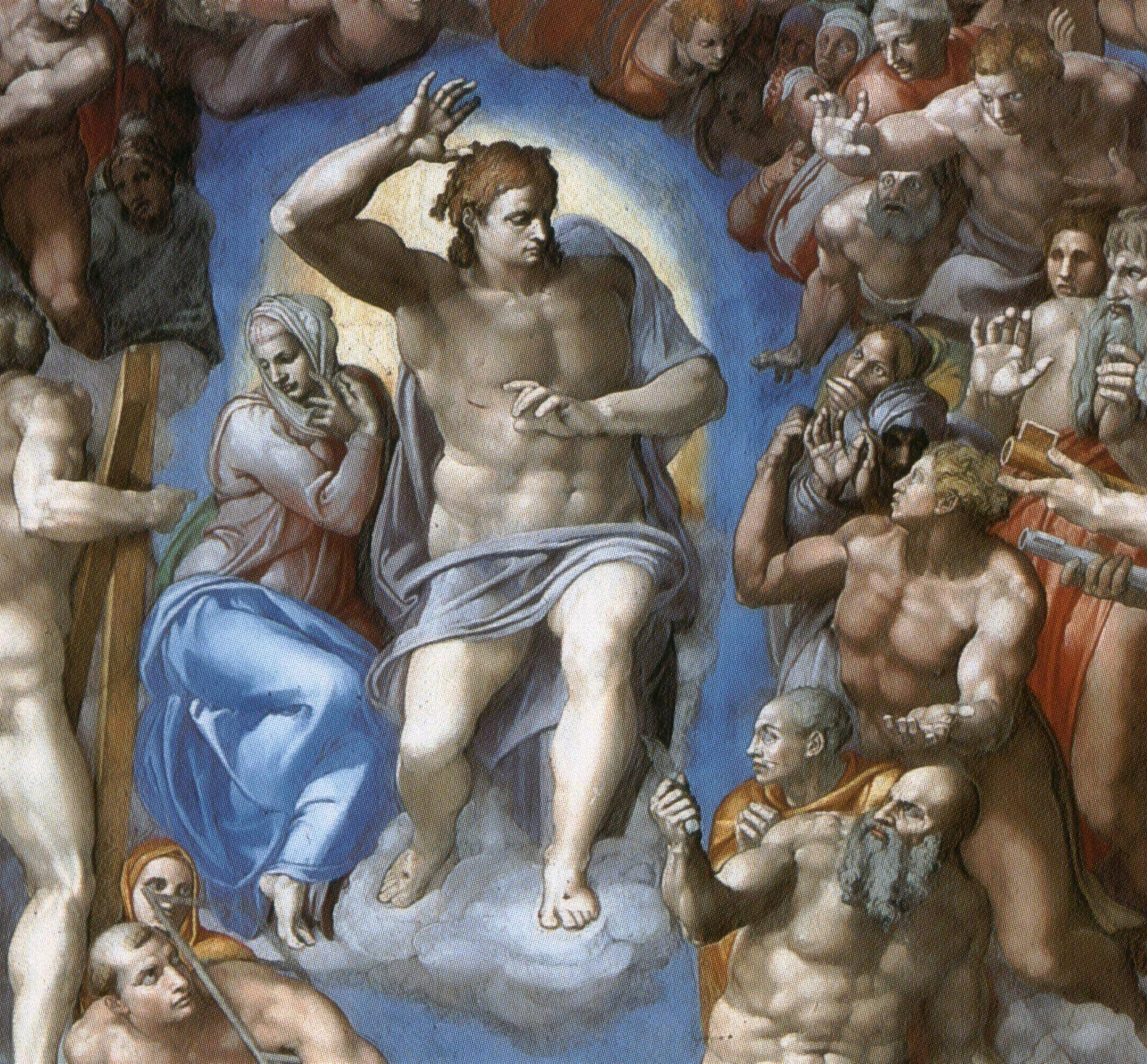 Христос-Судья и Богородица. Фрагмент фрески «Страшный суд». Микеланджело